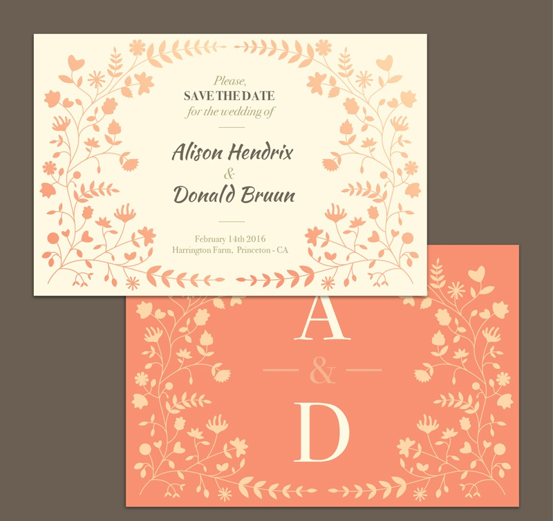 Fl Decoration Vector Wedding Invitation Card Front And Back